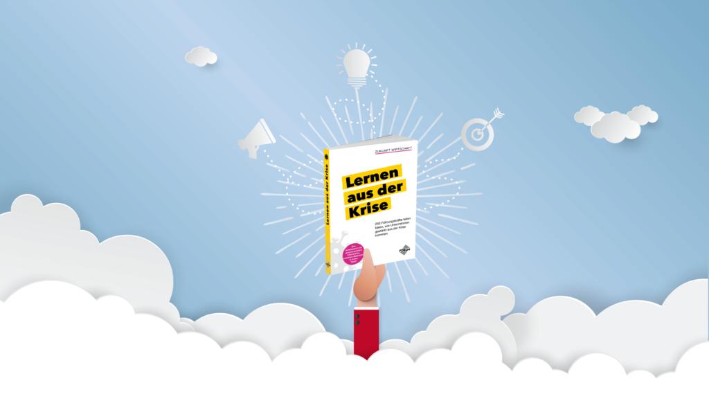 Zeichnung einer Hand die ein Buch durch die Wolken streckt, mit dem Titel Lernen aus der Krise.