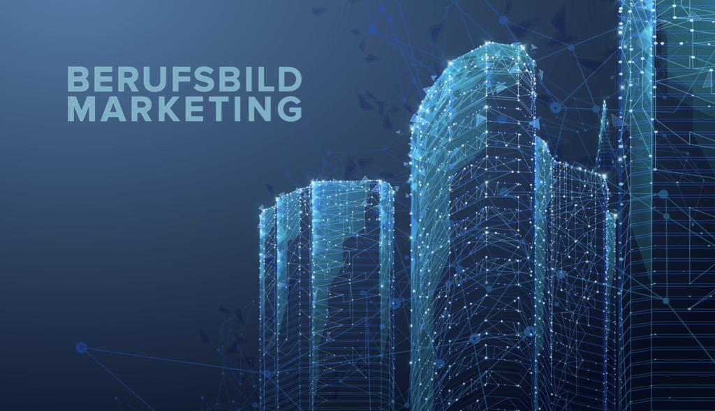 Logo Berufsbild Marketing auf Blauem Hintergrund